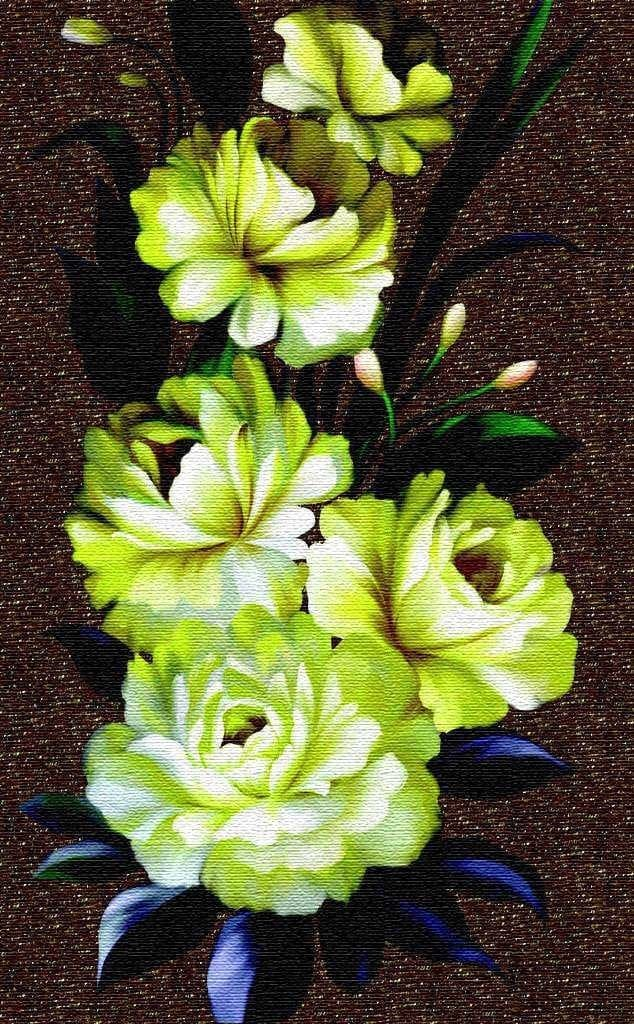 Marble Mosaic Art Bright Flowers Pic