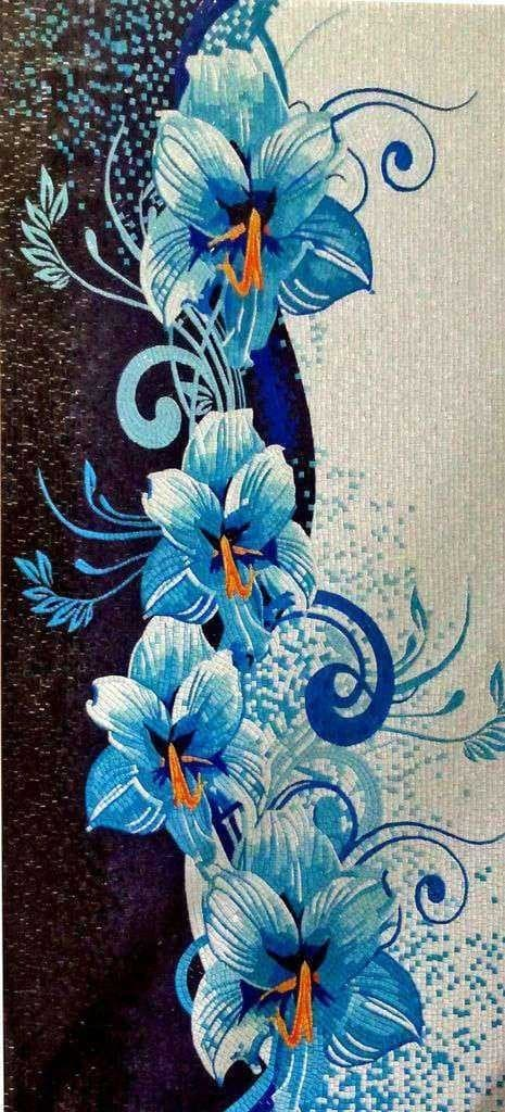 Flower Mosaic Art -Blue Iris
