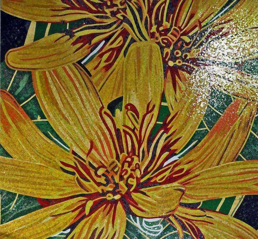 Flower Mosaic Art Yellow Gerbera Pic
