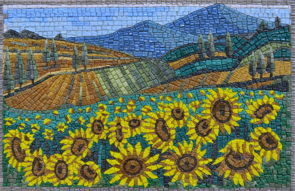 Glass Mosaic Art - Sunflower Feed