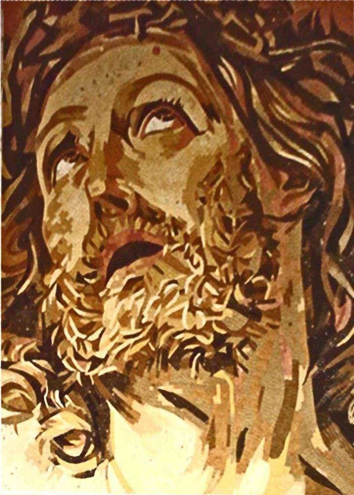 Jesus Face Glass Reliigous Mosaic