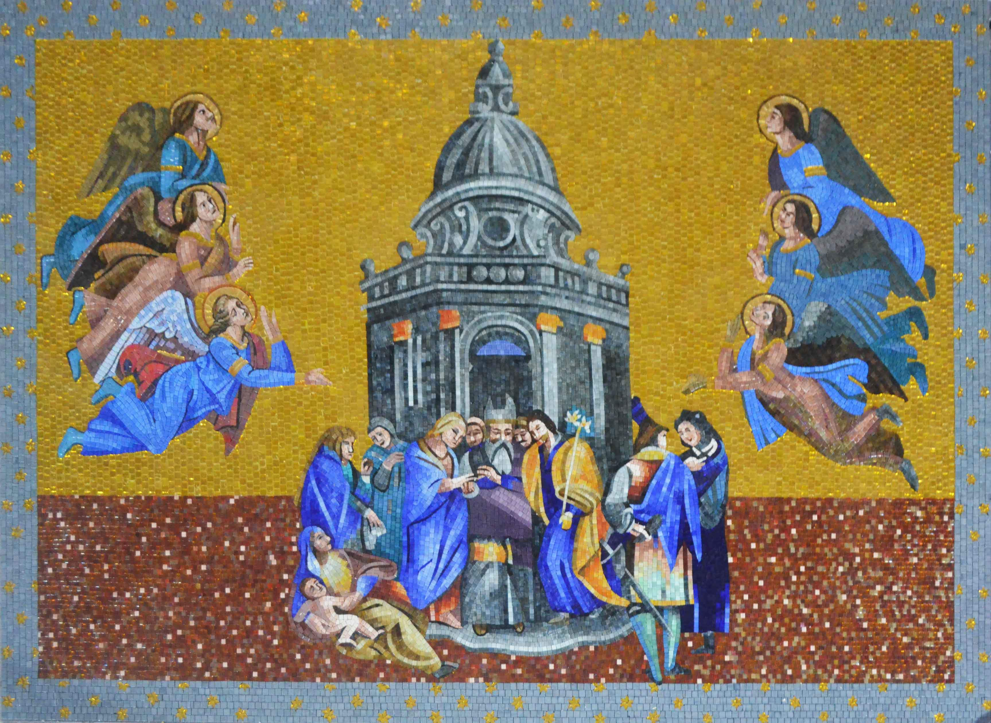 Orvieto Cathedral Mosaic Gable Art Reproduction Pic