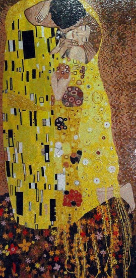 "Gustav Klimt The Kiss"" - Glass Mosaic Reproduction """