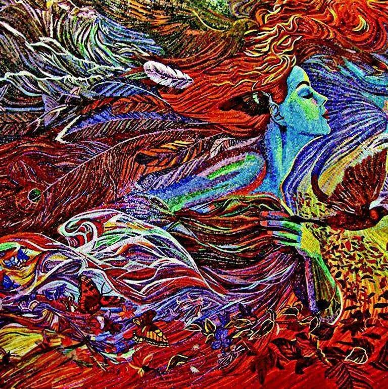 Visionary Mosaic Art Lady Of Feathers Pic