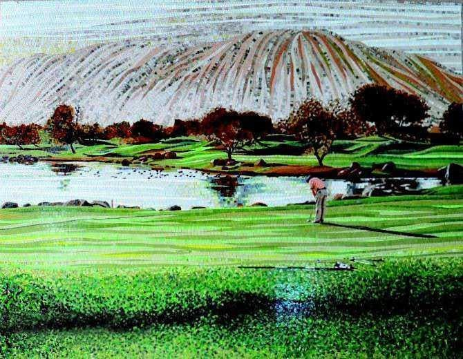 The Golf Court Mosaic Wall Art Pic