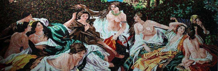 Female Figures in The Garden Glass Mosaic Artwork Mural