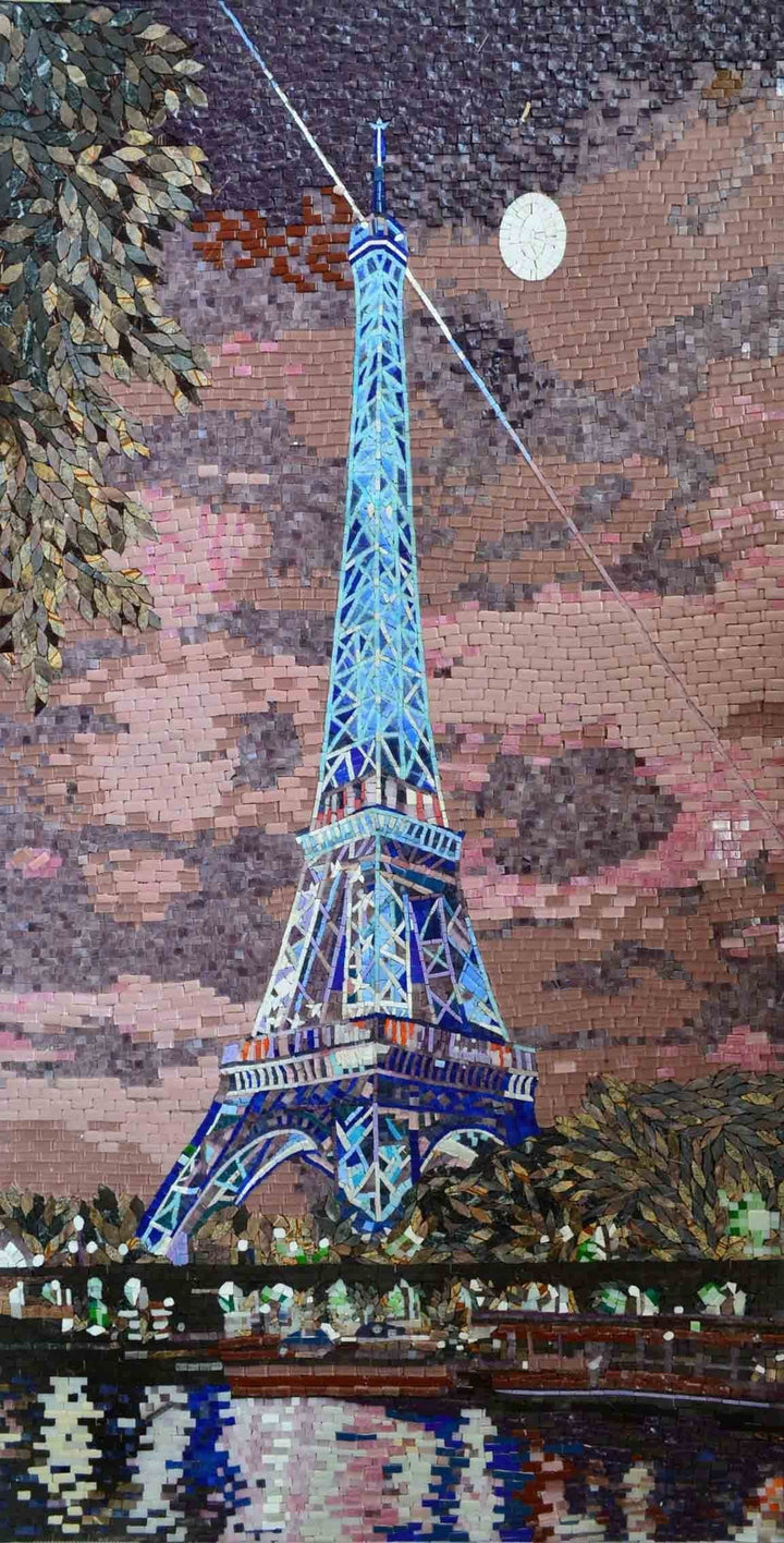 Eiffel Tower at Moonlight Scenery Glass and Marble Mosaic Mural