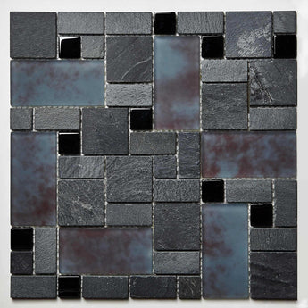 Mosaic Glass and Stone Sheet- Shades of Gray