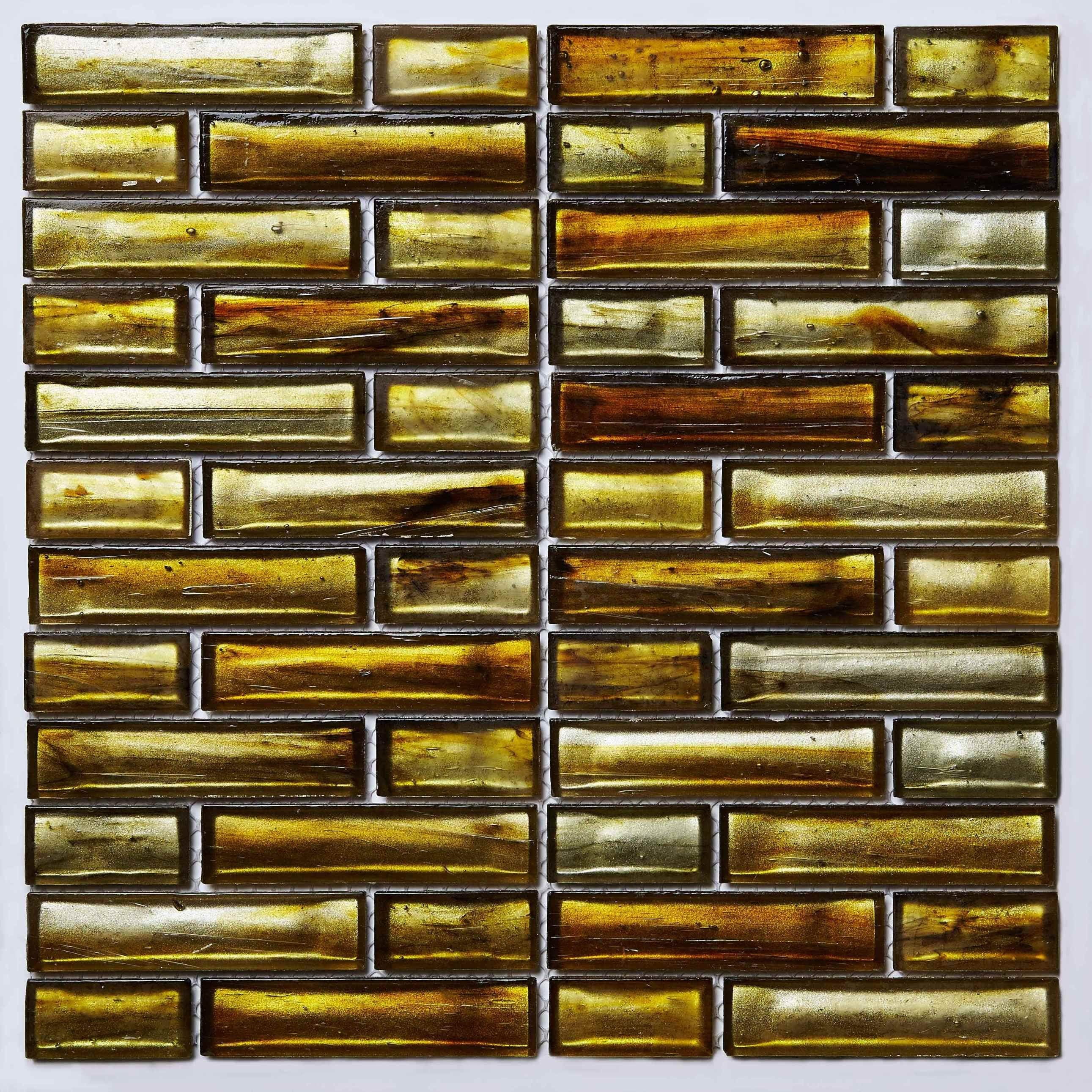 Mosaic Glass Sheet Gold Brown Pic