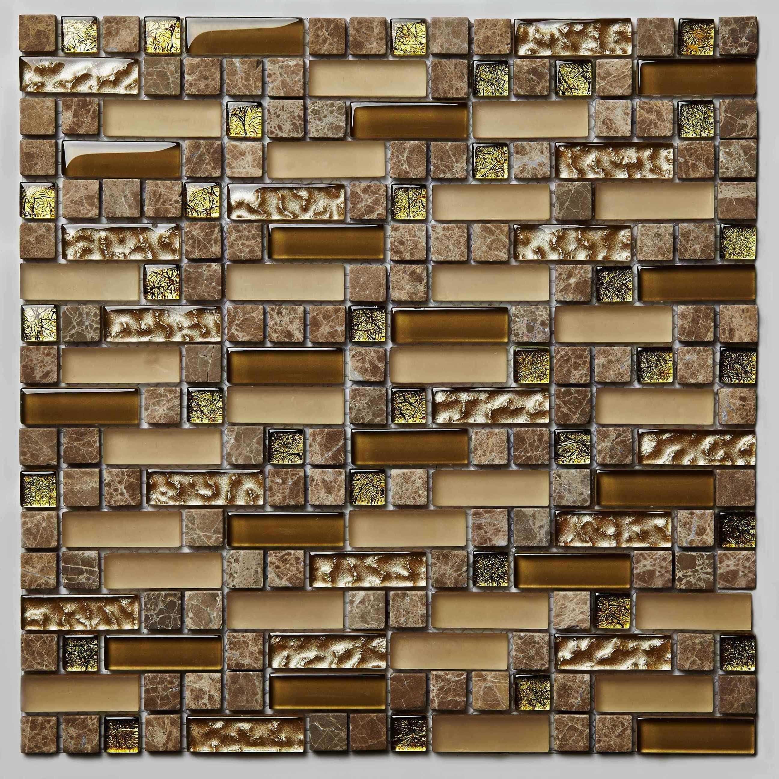 Glass and Stone Mosaic Sheet-Beehive