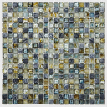 Stone and Glass Mosaic Sheet- Golden Blue