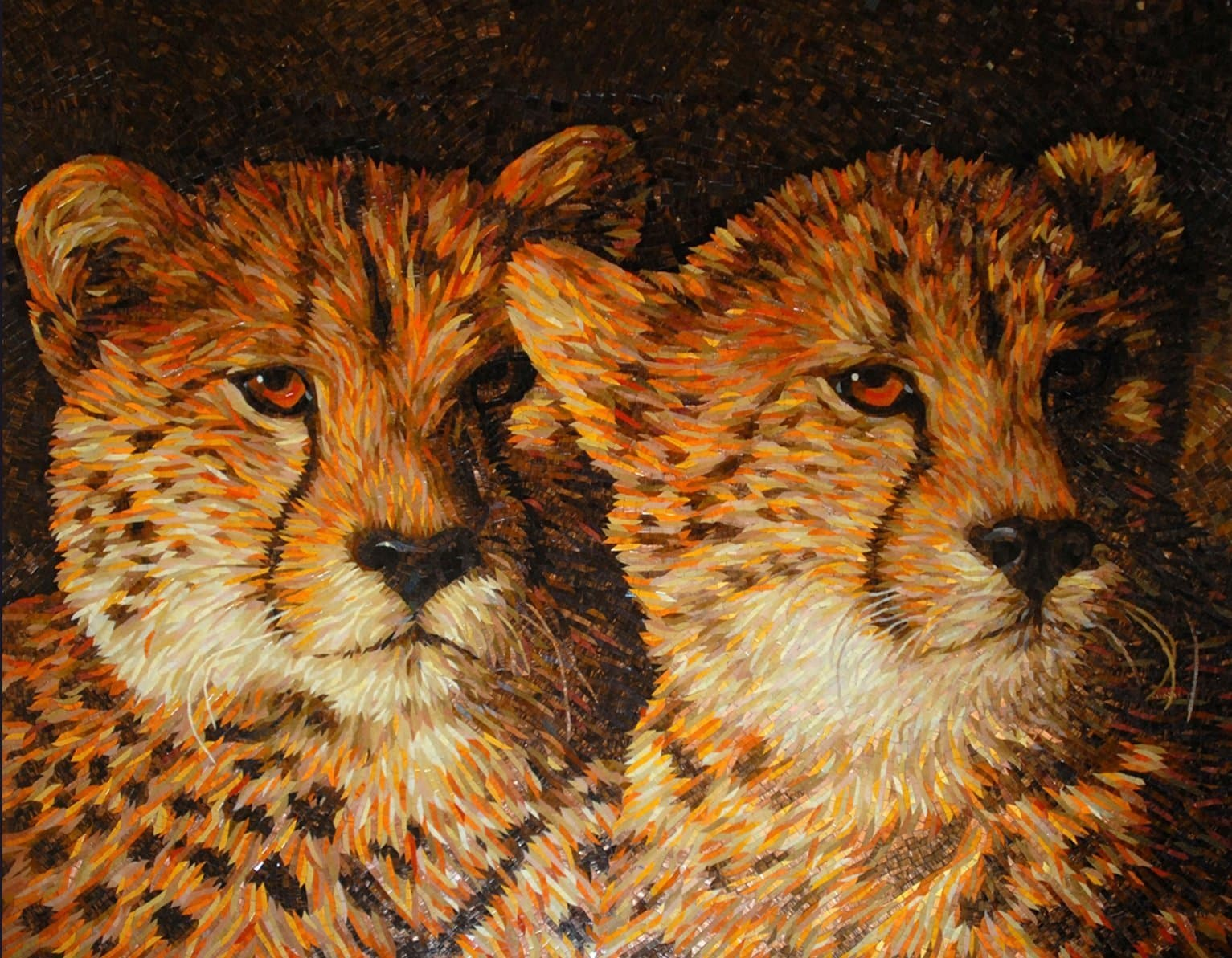 Baby Cheetahs Animal Mosaic Art Pic