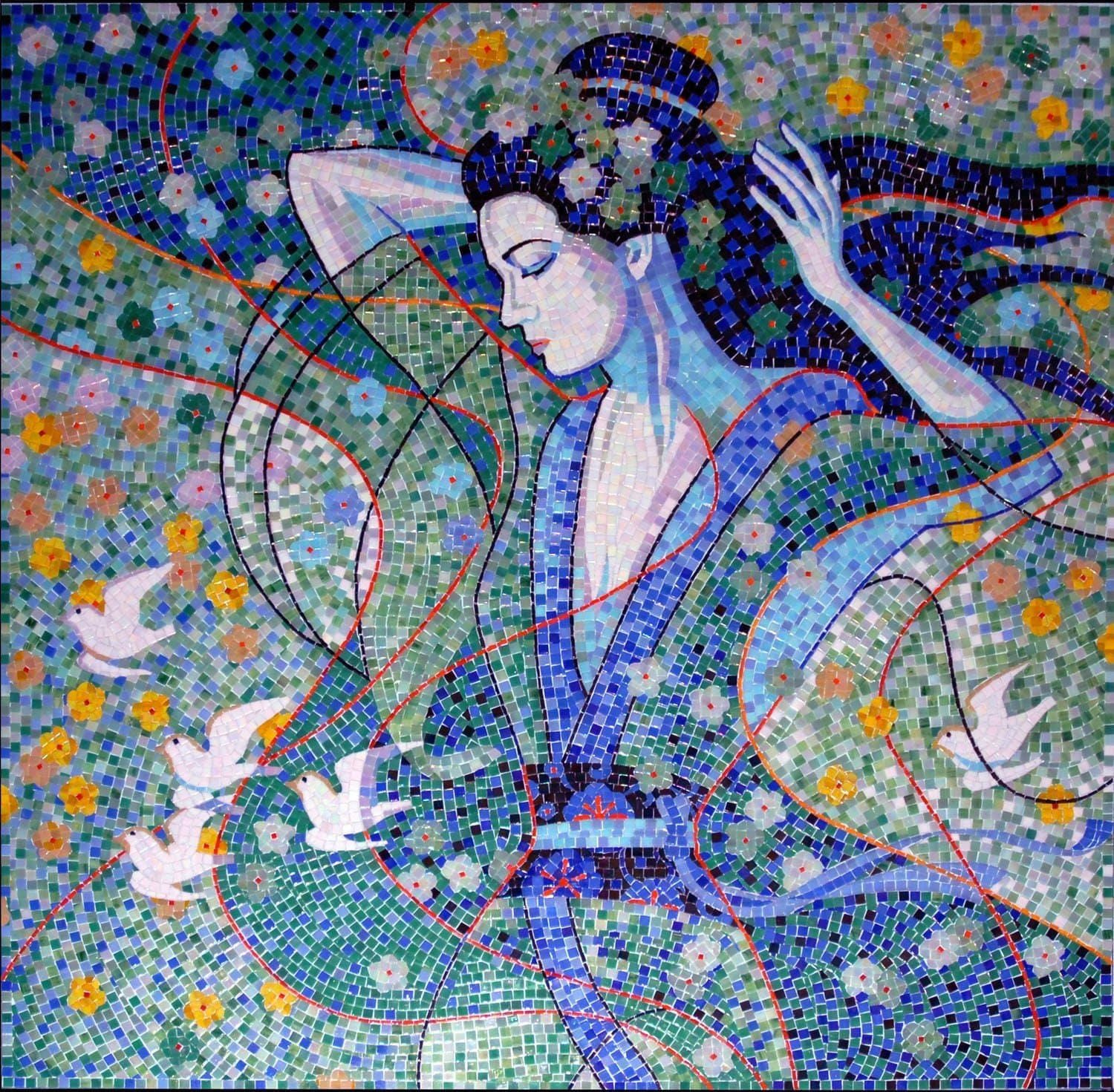 Lady In Blue Mosaic Pic