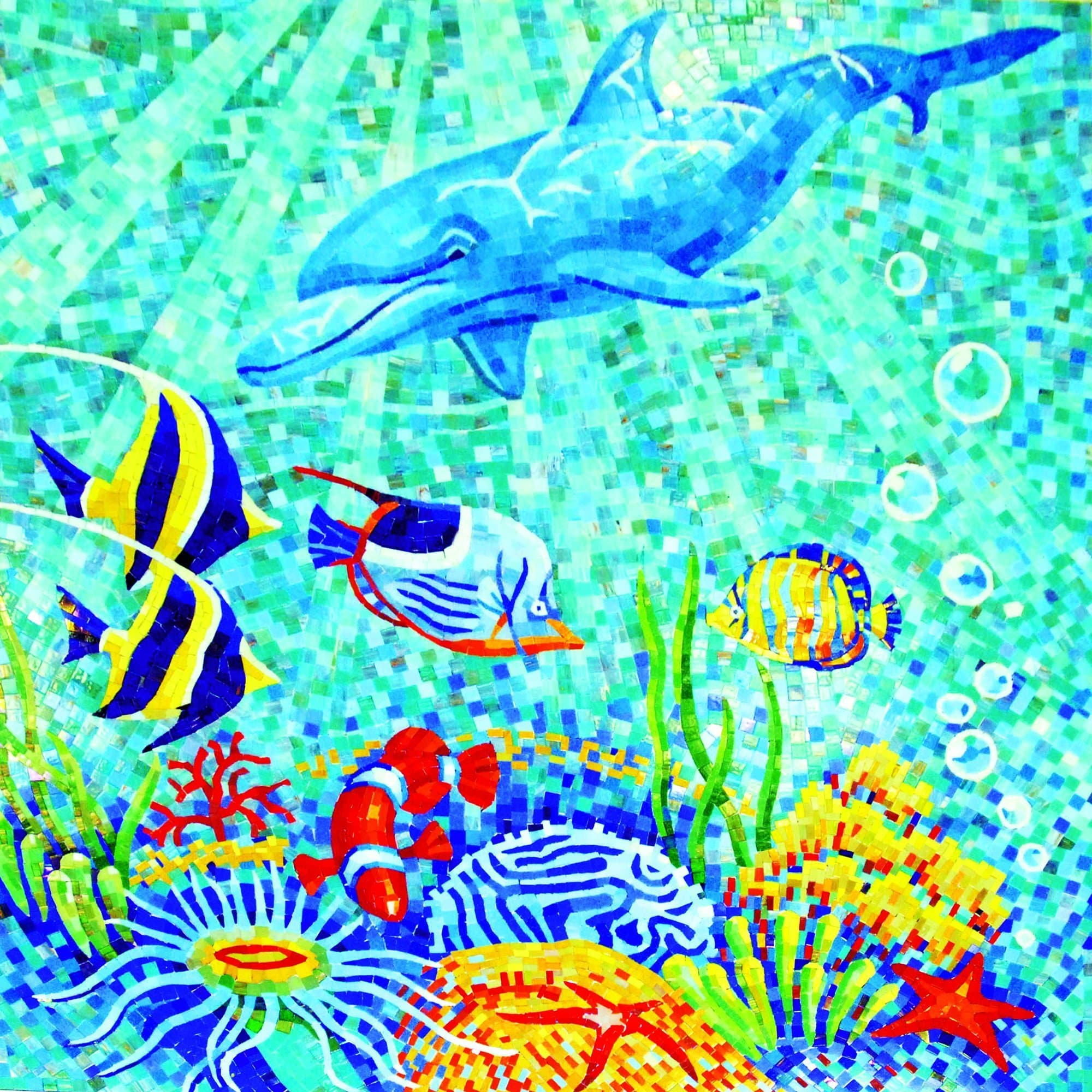 Colorful Sea Creatures Mosaic