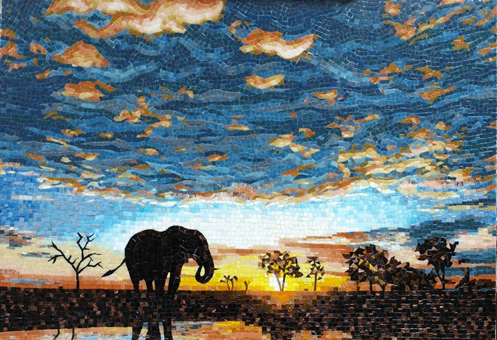 Glass Mosaic Art - Elephant