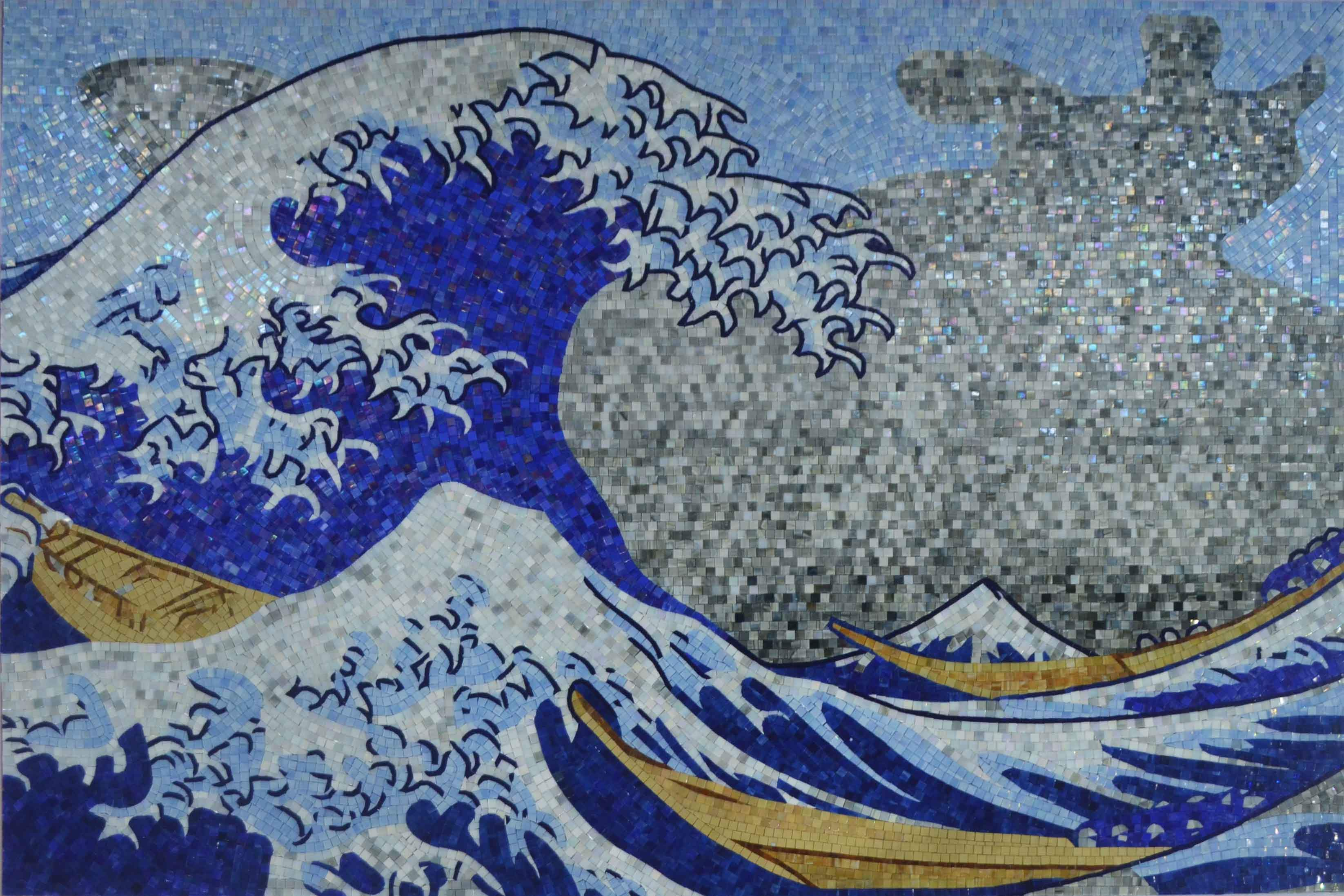 Blue Waves Mosaic Glass Art