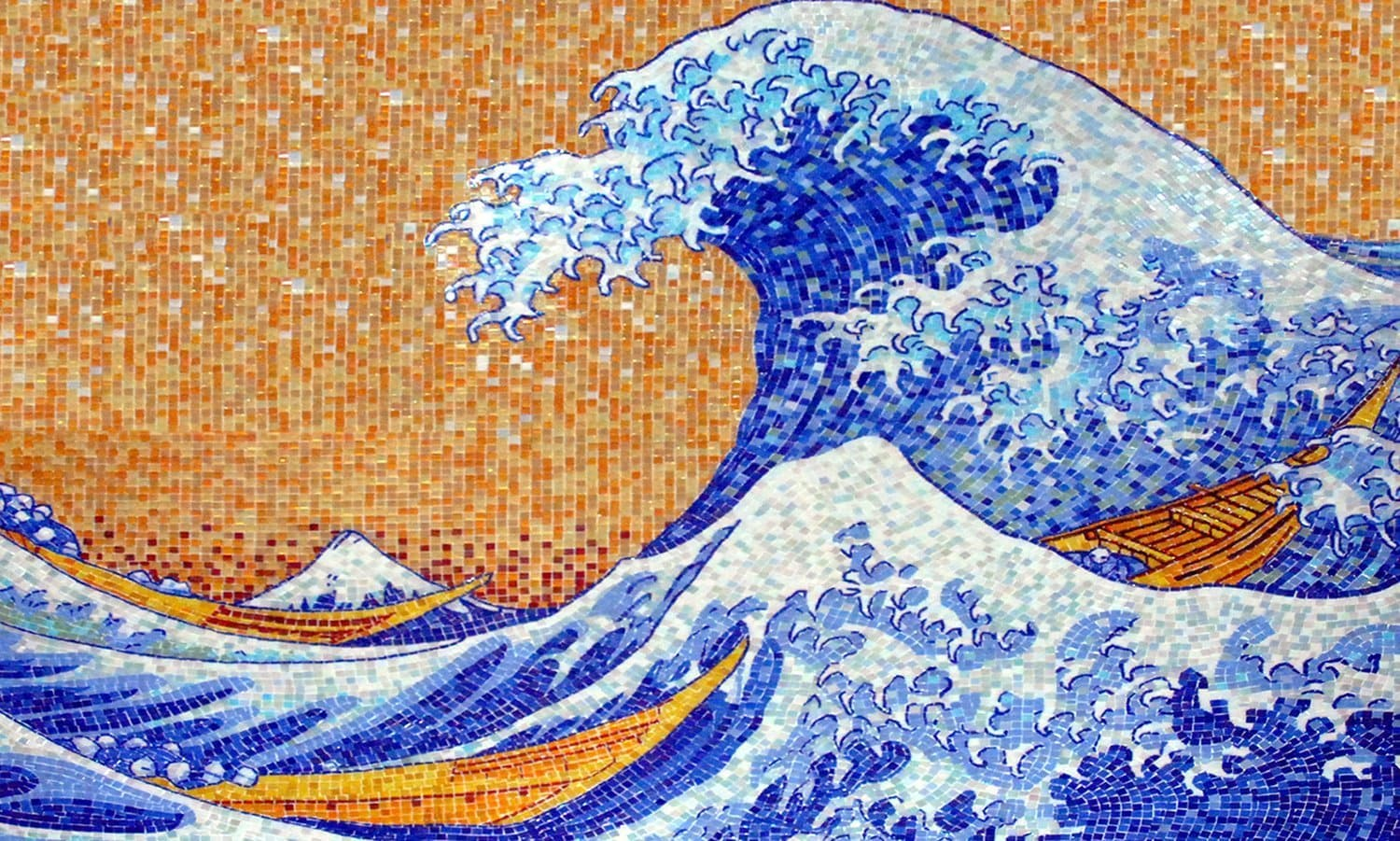 Splashing Waves Mosaic Art Pic
