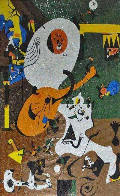 "Joan Miro ""Dutch Interior"" -  Abstract Mosaic Reproduction"