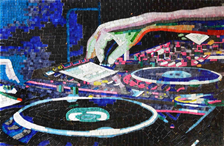 Turntables Glass Mosaic Art Handmade
