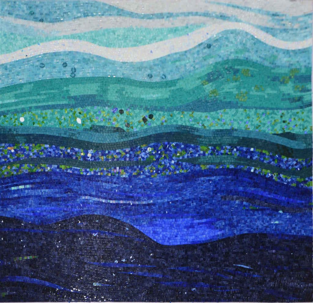 Electric Blue Ocean Waves Abstract Mosaic Art