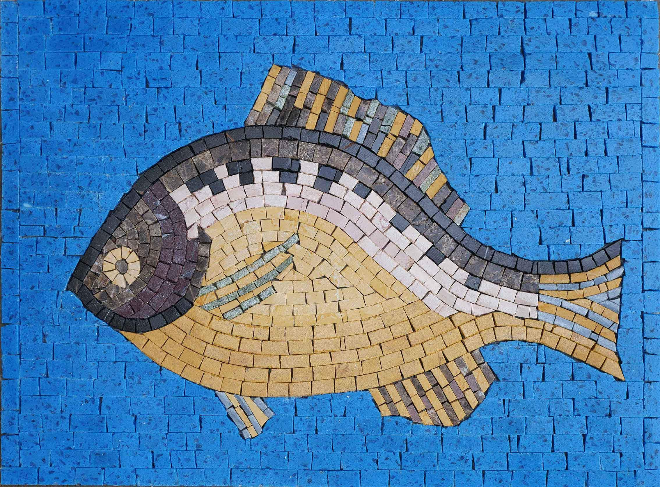 Bluegill In Blue - Fish Mosaic Art