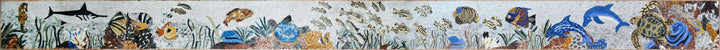 Sea Creatures in Coral Reef -  Marble Mosaic