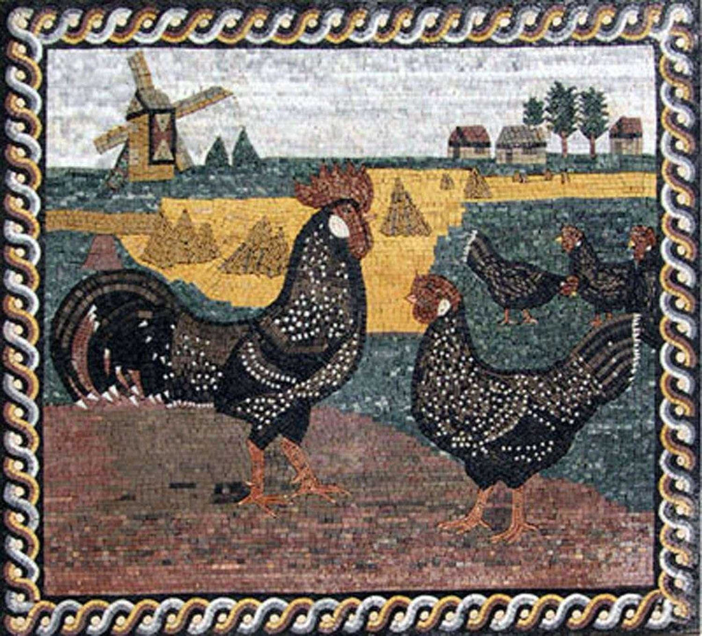 Mosaic Kitchen Backsplash- Hens