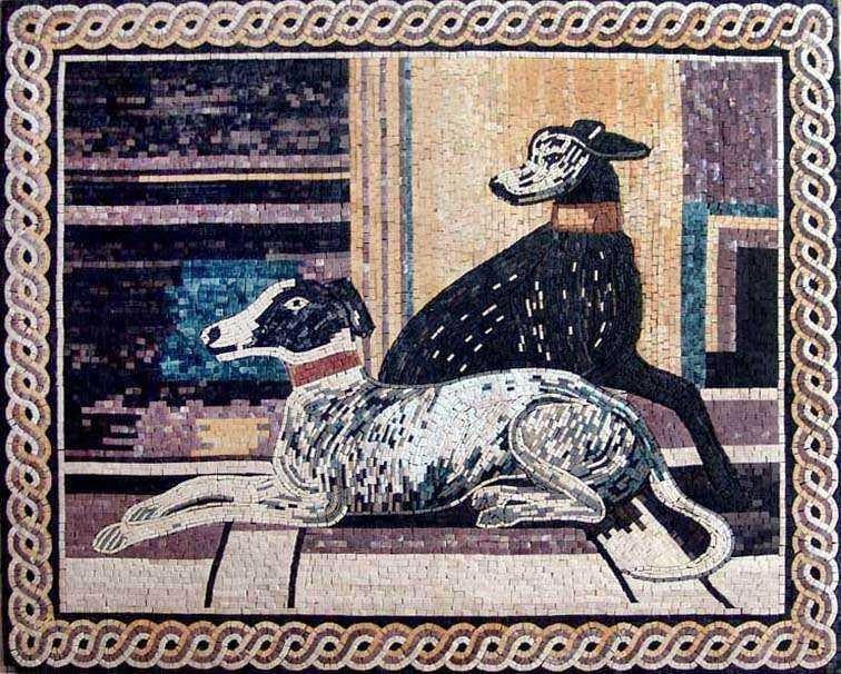 Marble Mosaic Art - Black White Dogs