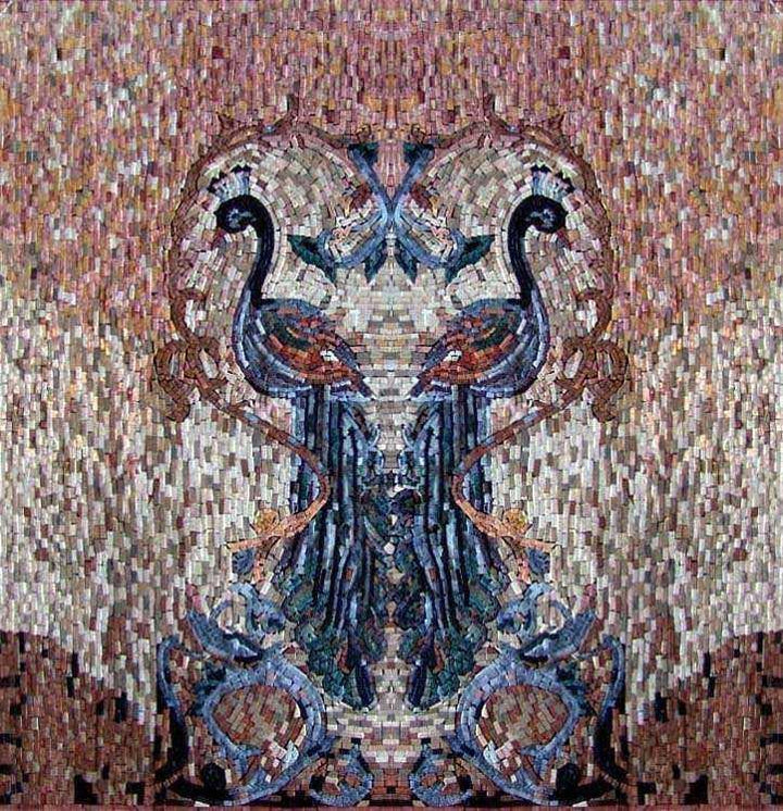 Mosaic Artwork - Two Peafowls