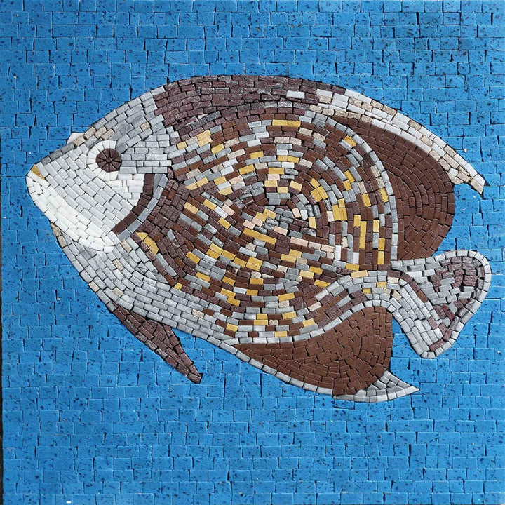 Brown Angel Fish on Blue - Mosaic Wall Art