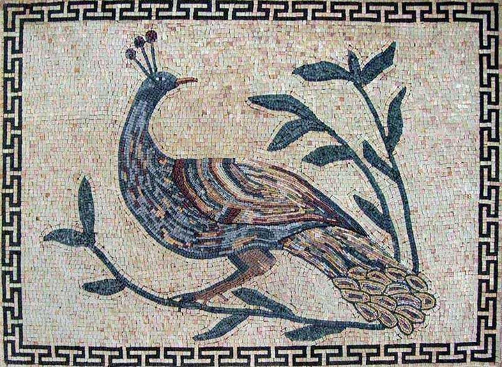 Marble Mosaic Art - Peacock on a Plant