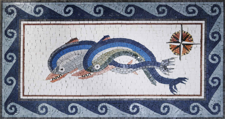 Duo Dolphins and compass mosaic artwork