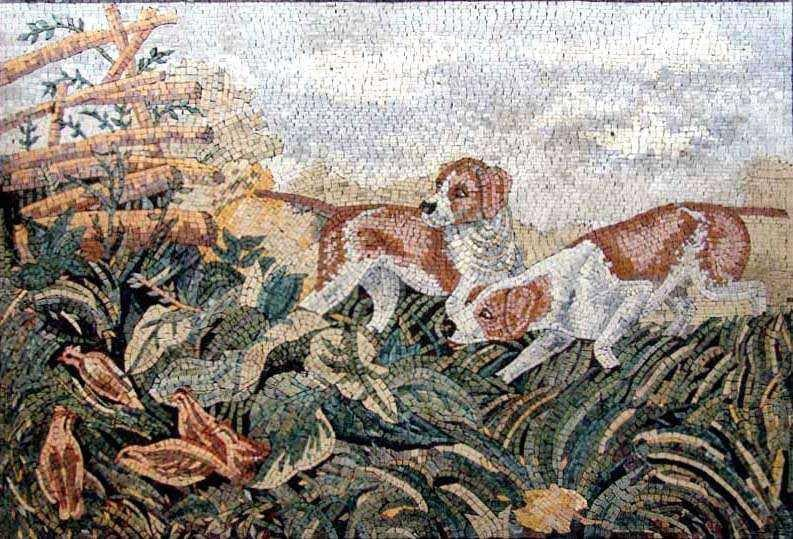 Marble Mosaic - Dogs in the field