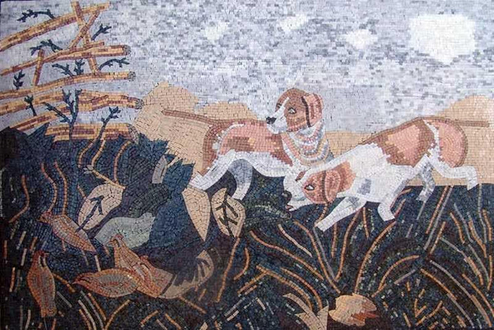 Dogs Field - Marble Mosaic