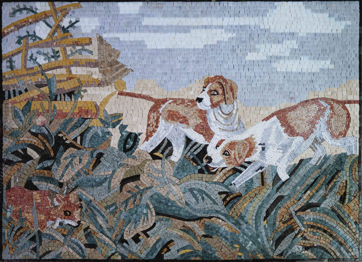 Dogs Hunting  A Fox - Mosaic Artwork