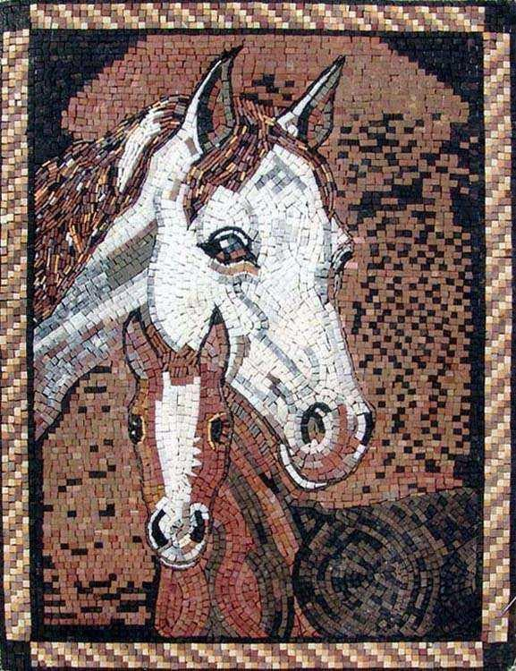 Marble Mosaic Mural - Two Horses
