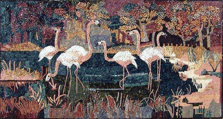 Mosaic Wall Design - Pink Flamingos