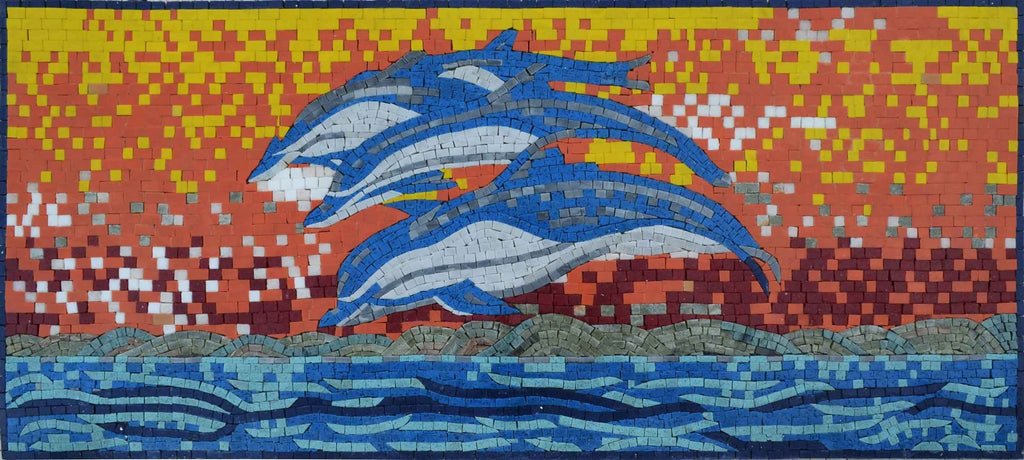 Mosaic Art  - Dolphins Jumping in the sunset