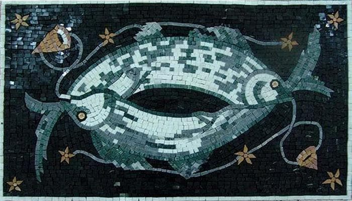 Duo Fish Mosaic Mural