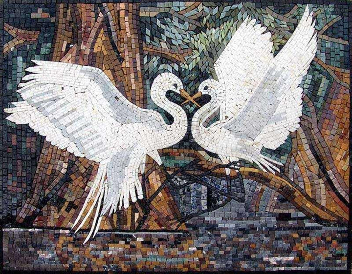 Mosaic Art - Romantic Herons