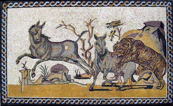 Marble Mosaic Art - Animals Hunting