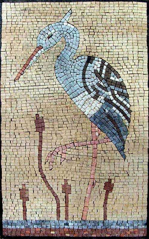Mosaic Tile Art - White Heron