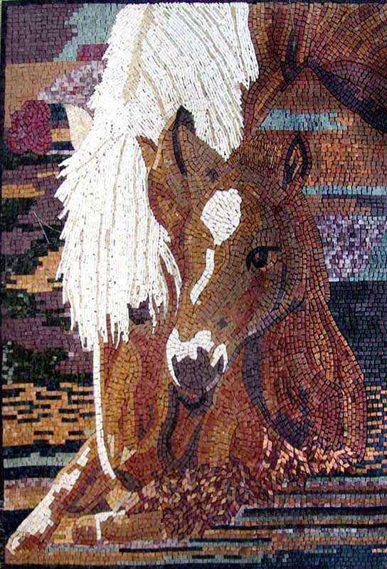 Mosaic Designs Mother And Child Horses Pic