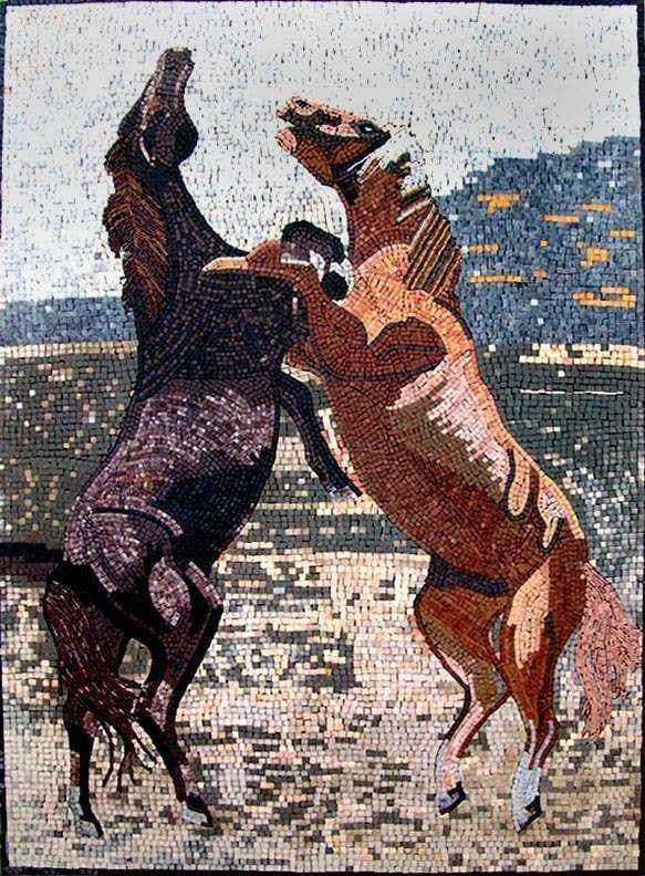 Marble Mosaic Designs - Two Horses