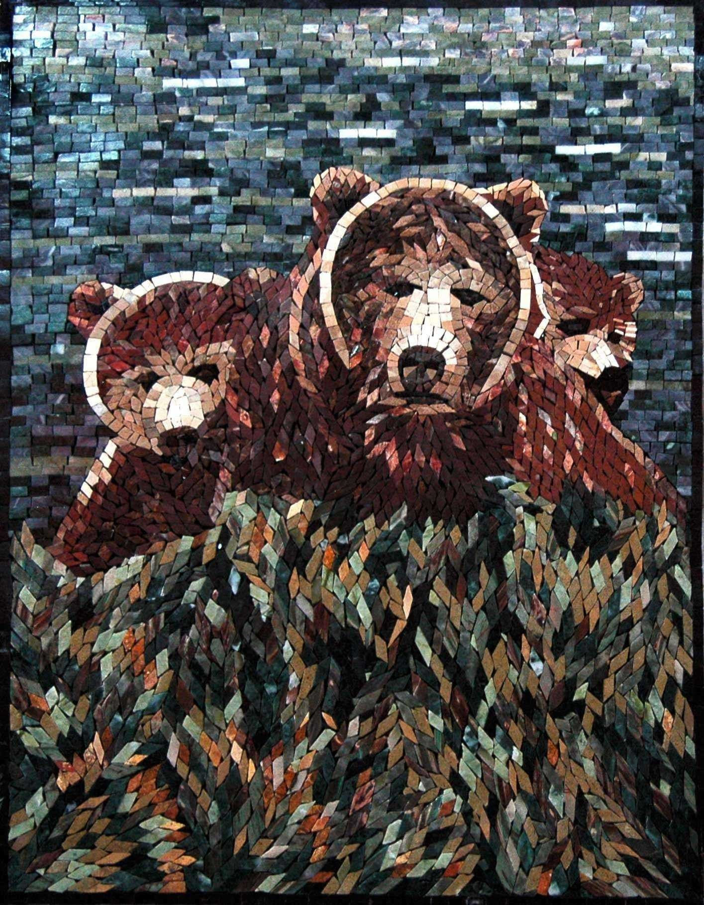Animal Mosaic Designs Group Of Bears Pic