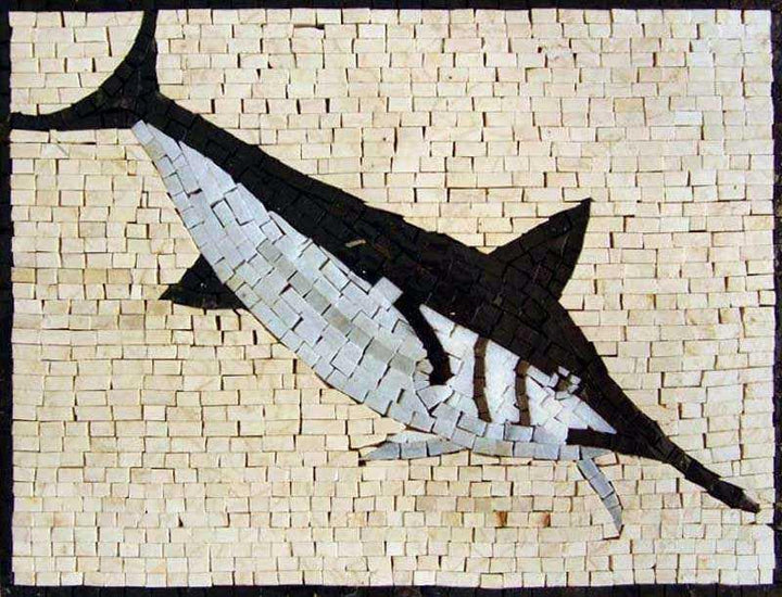 Black and White Fish Mosaic