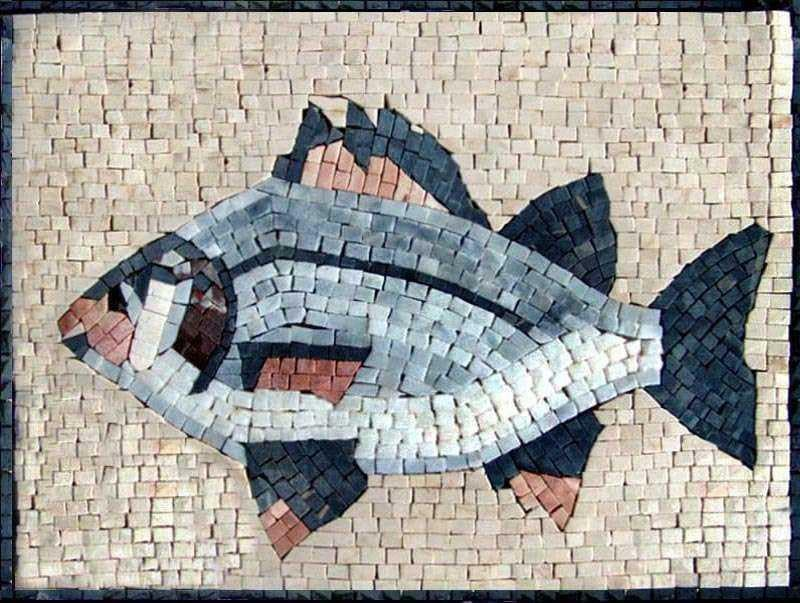 Fish Marble Mosaic Art Tile