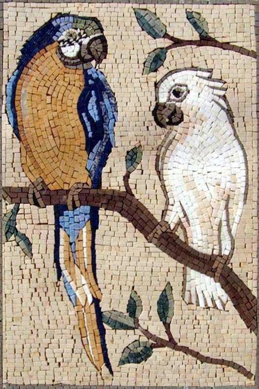 Mosaic Wall Art - Macaw and White Parrot