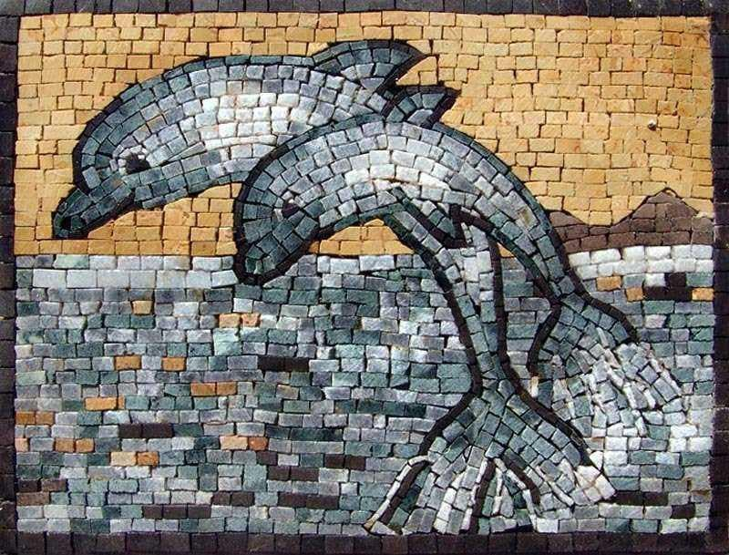 Two Cute Dolphins Mosaics Pic