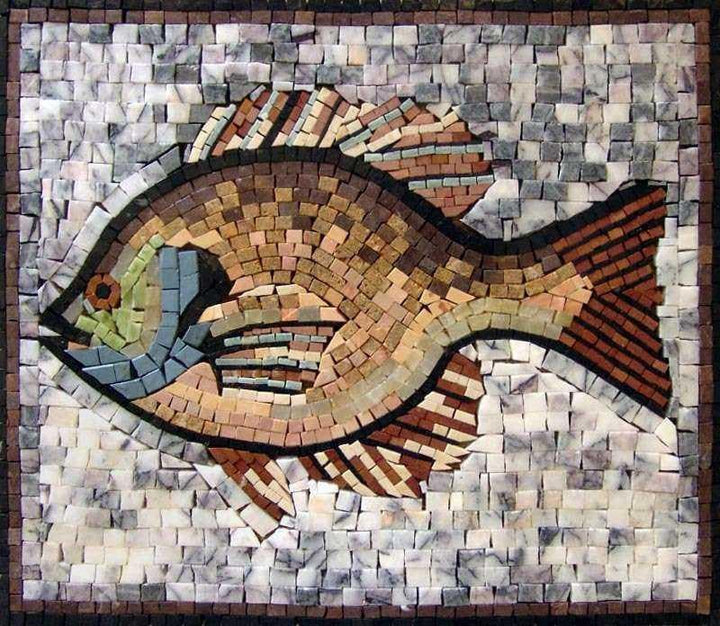 Cute Fish Marble Mosaic Art